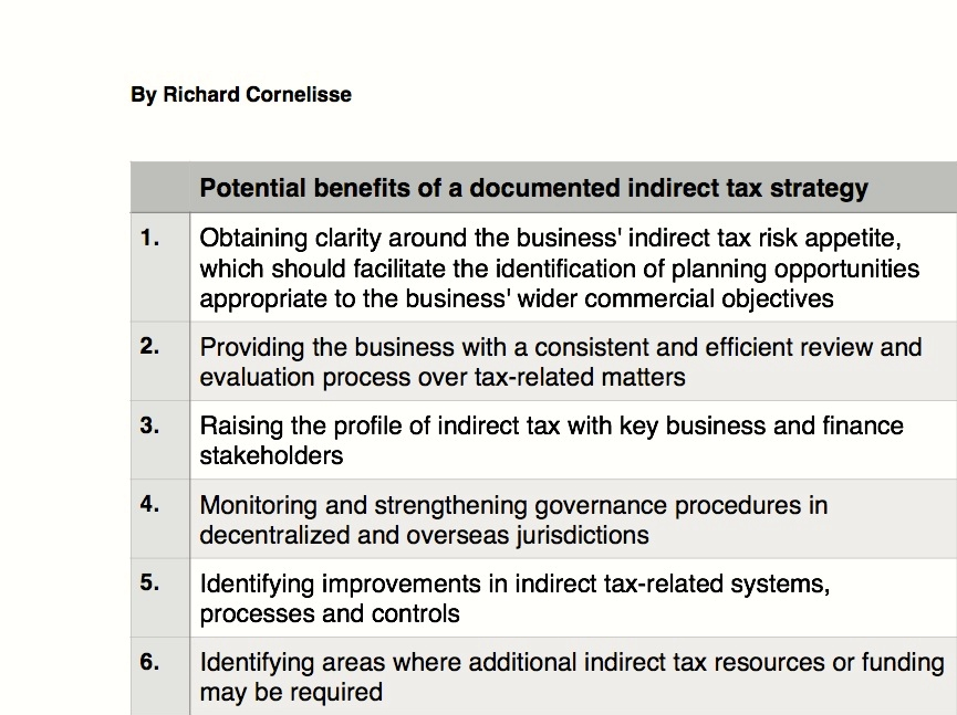 35 Potential benefits of a documented indirect tax strategy