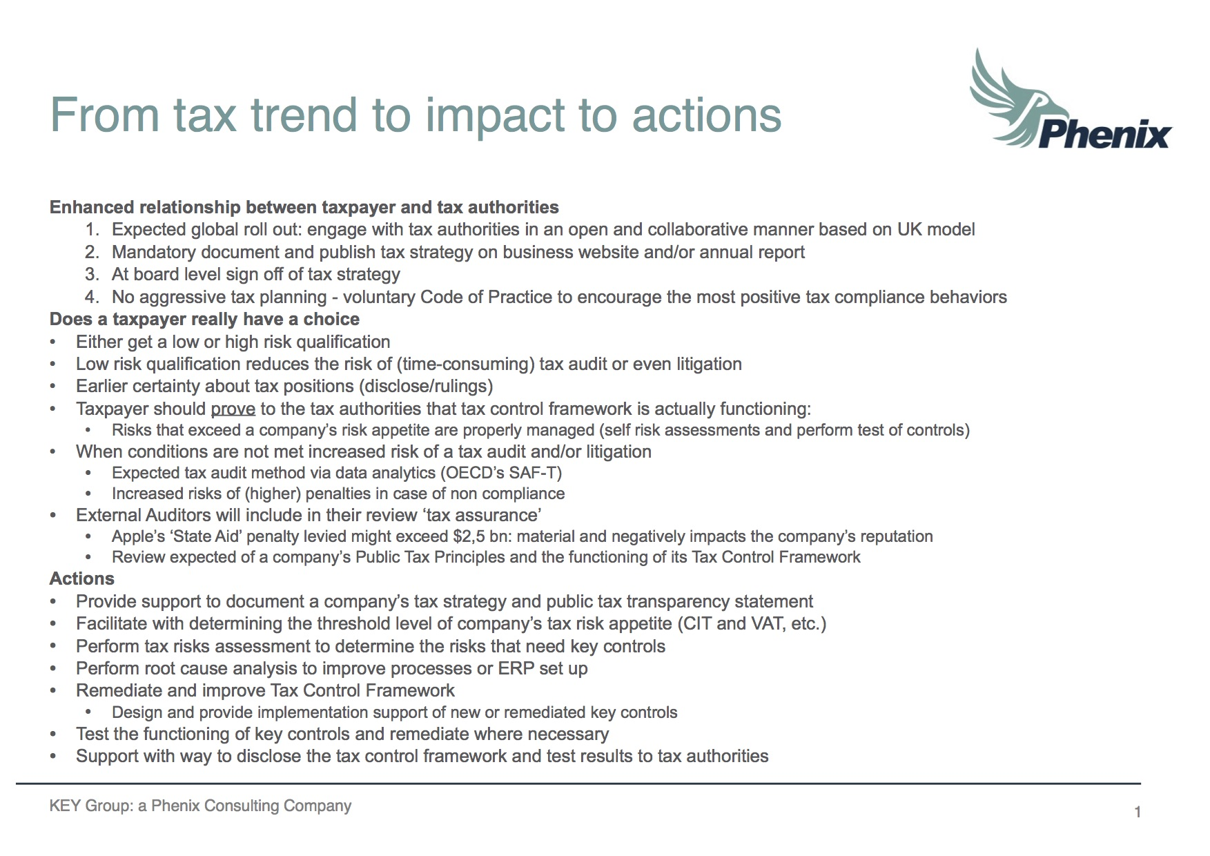 From tax trend to impact to actions